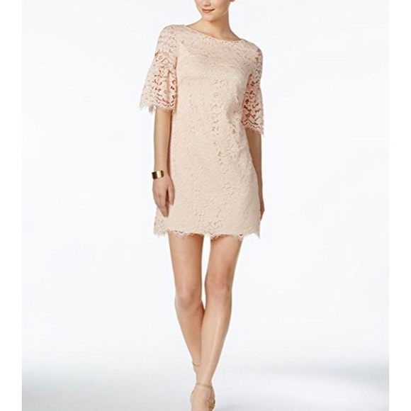 8 Vince Camuto Pink Lace Shift Dress Bell Sleeves Nwt